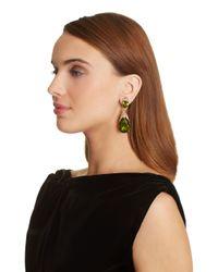 Oscar de la Renta - Green Bold Teardrop Earrings - Lyst