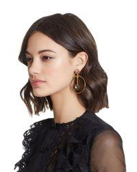 Oscar de la Renta | Multicolor Crystal Drop Hoop Earrings | Lyst