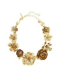 Oscar de la Renta | Metallic Flower Statement Necklace | Lyst