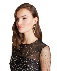 Oscar de la Renta - Metallic Resin And Crystal Bouquet Earrings - Lyst