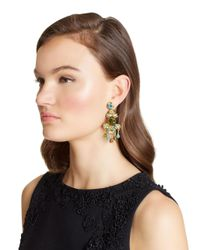 Oscar de la Renta - Multicolor Crystal Flower Bold Earrings - Lyst