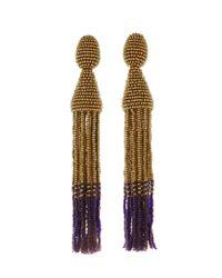 Oscar de la Renta   Metallic Long Ombré Tassel Earrings   Lyst