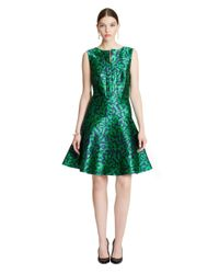 Oscar de la Renta | Green Leopard Satin Jacquard Split-neck A-line Dress | Lyst