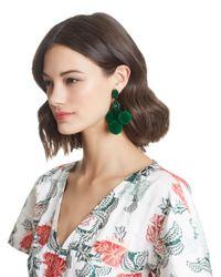 Oscar de la Renta - Green Triple Pom Pom Earrings - Lyst