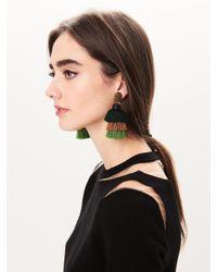 Oscar de la Renta - Multicolor Fern Long Silk Tiered Tassel Earrings - Lyst