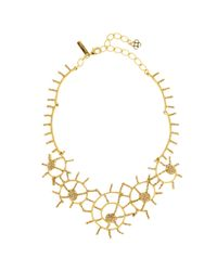 Oscar de la Renta - Metallic Shell Pavé Necklace - Lyst