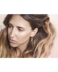 i+i | Metallic Feather Hoop Earrings | Lyst
