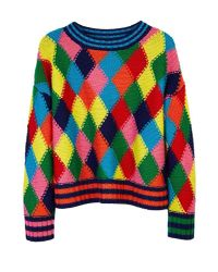MIRA MIKATI - Multicolor Diamond Stitch Hand Knit Sweater Multi - Lyst