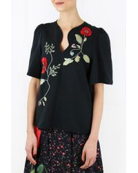 Vilshenko - Nabilla Hypnotic Print Embroidered Blouse Black - Lyst