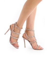 Valentino - Multicolor Rockstud Four Strap Sandal Patent Leather Poudre - Lyst