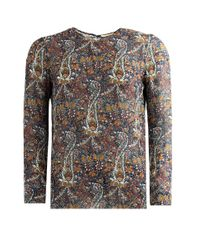 Saint Laurent | Black Blouse Paisley Folk Print Multi | Lyst