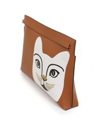 Loewe - Brown Cat T-pouch Tan - Lyst