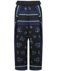 Sacai | Flower Print Wide Leg Pants Black | Lyst