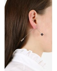Balenciaga - Metallic Double Tie Pin Earring Silver - Lyst