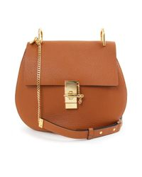 Chloé | Brown Drew Medium Bag Grained Leather Caramel/gold | Lyst