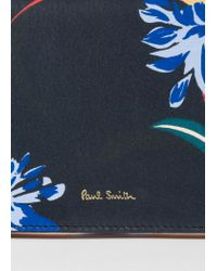 Paul Smith - Blue Navy 'Pacific Rose' Print Leather Tri-Fold Purse - Lyst