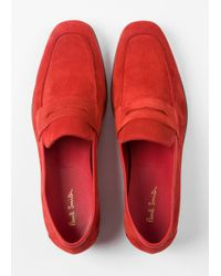 Paul Smith - Men's Red Suede 'glynn' Penny Loafers for Men - Lyst