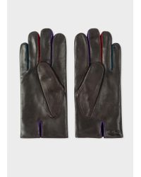 Paul Smith - Brown Leather Concertina Gloves for Men - Lyst