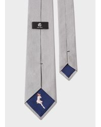 Paul Smith | Gray Men's Light Grey Pin Dot Silk Tie With 'naked Lady' Lining for Men | Lyst