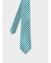 Paul Smith - Blue Turquoise And White Diagonal Stripe Silk Tie for Men - Lyst