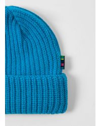 Paul Smith - Men's Neon Blue Wool Beanie Hat for Men - Lyst