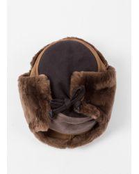Paul Smith - Men's Brown Colour-block Sheepskin Chapka Hat for Men - Lyst
