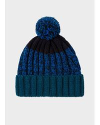 Paul Smith - Blue Men's Navy Lambswool Twisted-yarn Cable Knit Bobble Hat for Men - Lyst