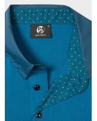 Paul Smith - Blue Men's Slim-fit Dark Teal Ps Logo Supima Cotton Polo Shirt With Woven Collar for Men - Lyst