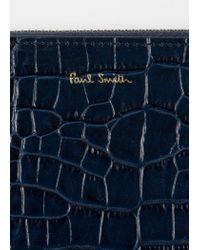 Paul Smith - Blue Portefeuille Femme À Fermeture Éclair Bleu En Cuir Effet Crocodile for Men - Lyst