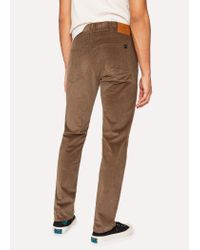 Paul Smith - Tapered-Fit Brown Stretch-Cotton Corduroy Trousers for Men - Lyst