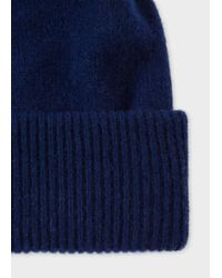Paul Smith - Blue Men's Navy Lambswool Knitted Bobble Hat for Men - Lyst