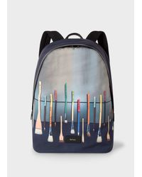 Lyst - Paul Smith Men s Canvas  Paint Brush  Print Backpack in Black ... 5a2e2ab99