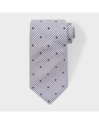 Paul Smith - Blue Men's Navy Stripe And Spot Silk Tie for Men - Lyst