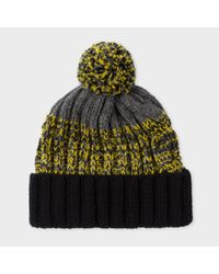 Paul Smith   Gray Men's Grey Lambswool Twisted-yarn Cable Knit Bobble Hat for Men   Lyst