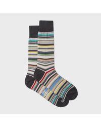 Paul Smith | Multicolor Men's Elephant Grey Signature Stripe Socks for Men | Lyst