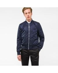 Paul Smith | Blue Men's Navy Bomber Jacket With Quilted Lining for Men | Lyst
