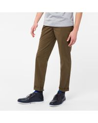 Paul Smith | Multicolor Men's Tapered-fit Khaki Garment-dye Pima-cotton Stretch Chinos for Men | Lyst