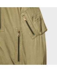 Paul Smith | Multicolor Men's Khaki Cotton And Cupro-blend Pilot Jacket With Stripe Collar for Men | Lyst