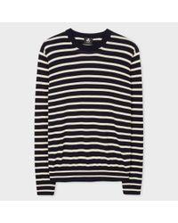 Paul Smith | Blue Men's Navy And White Breton-stripe Cotton Sweater for Men | Lyst