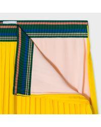 Paul Smith - Yellow Pleated Midi Skirt - Lyst