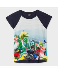 Paul Smith | Blue Women's Navy T-shirt With 'exotic Birds' Print Silk Front | Lyst