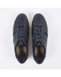 Paul Smith | Gray Men's Navy Leather 'lawn' Trainers for Men | Lyst