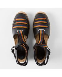 Paul Smith | Women's Black Leather 'march' Espadrilles With Artist Stripe Straps | Lyst