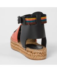 Paul Smith | Women's Burnt Orange Leather 'march' Espadrilles With Artist Stripe Straps | Lyst