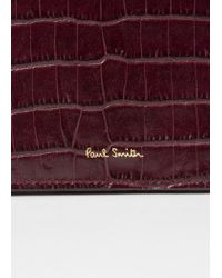 Paul Smith - Purple Burgundy Mock-Croc Leather Tri-Fold Wallet - Lyst