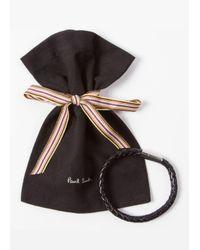 Paul Smith   Men's Black Leather Plaited Bracelet for Men   Lyst