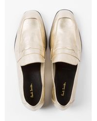 Paul Smith - Metallic Women's Gold Leather 'glynn' Penny Loafers - Lyst
