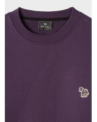 Paul Smith - Purple Dark Violet Organic-Cotton Zebra Logo Sweatshirt for Men - Lyst