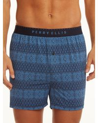 Perry Ellis | Blue Luxe Sequence Boxer for Men | Lyst