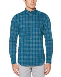 Perry Ellis - Blue Seersucker Check Shirt for Men - Lyst